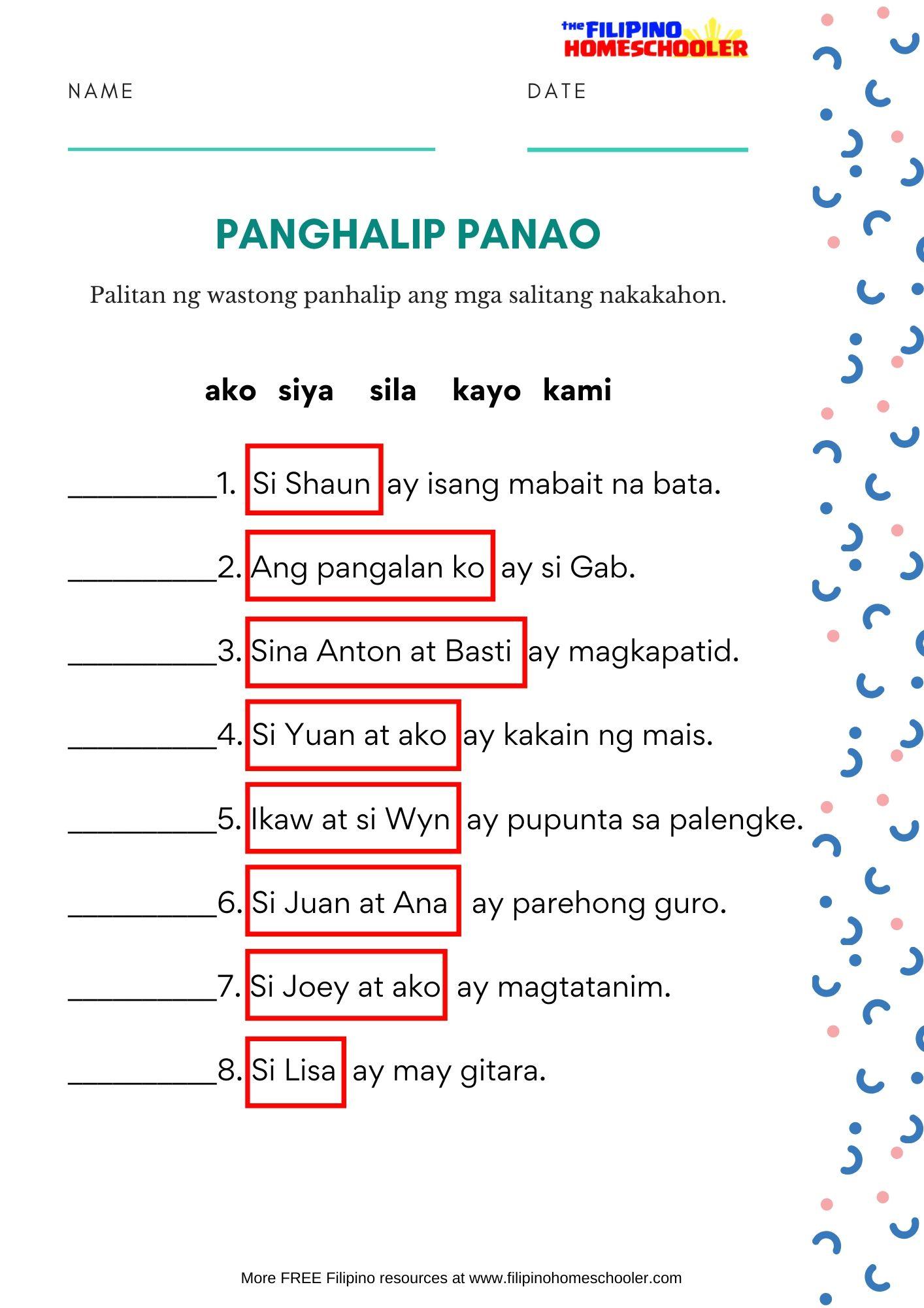 hight resolution of Free Panghalip Panao Worksheet SET 2 — The Filipino Homeschooler