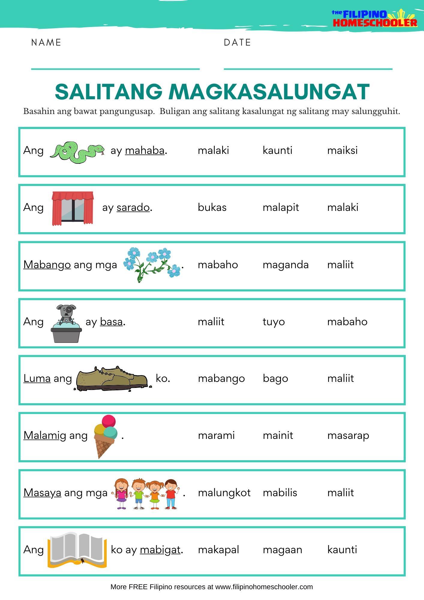 Salitang Magkasalungat Worksheets Set 1