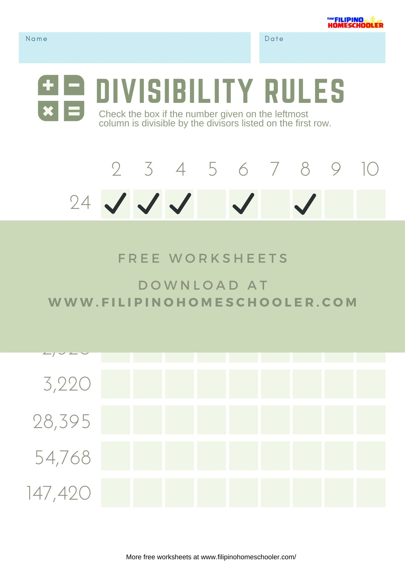 Divisibility Rules Worksheets Set 2