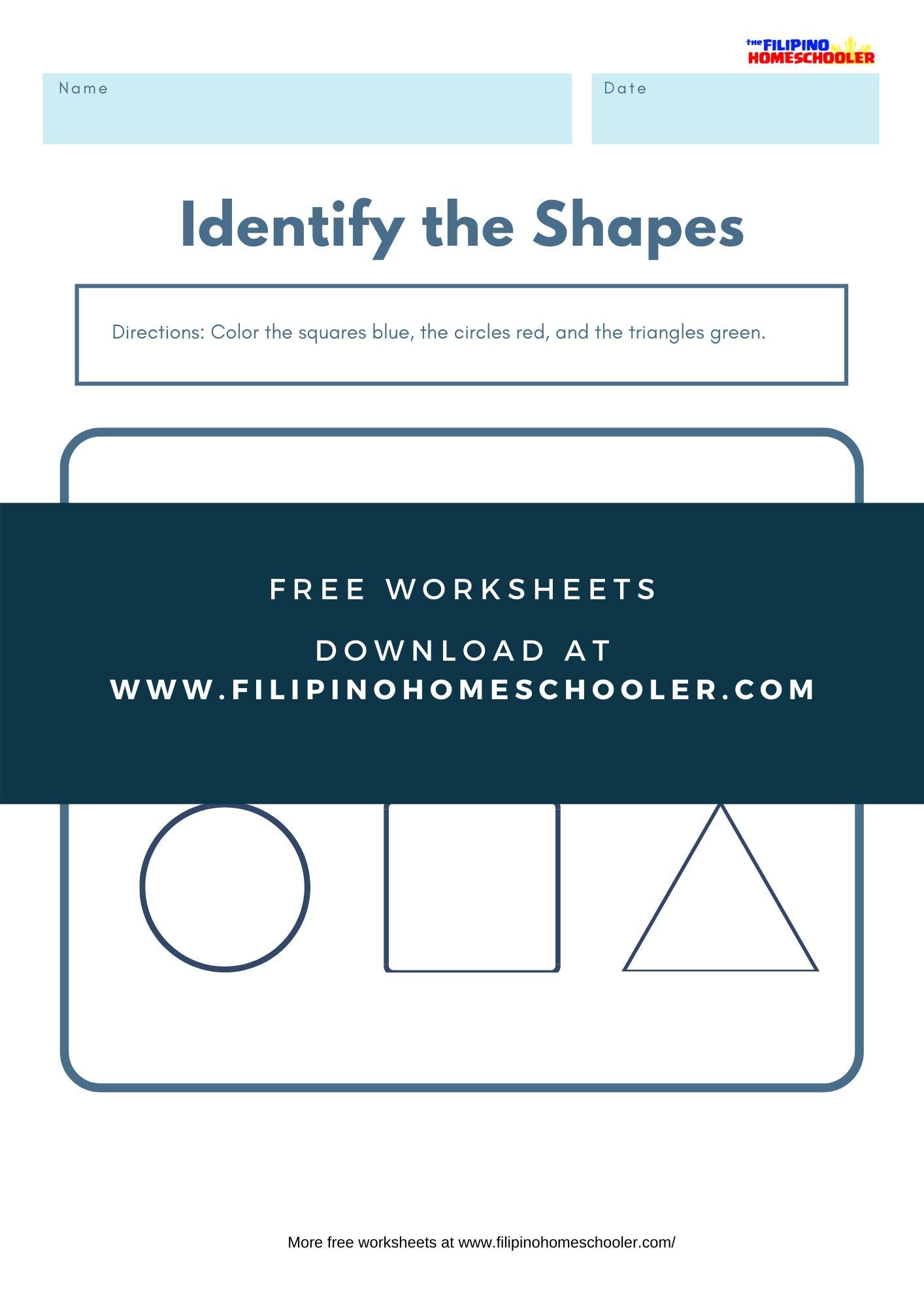 Color The Shape Math Worksheet