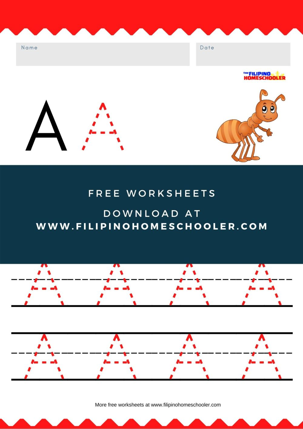 medium resolution of Free Uppercase Vowel Tracing Worksheets — The Filipino Homeschooler
