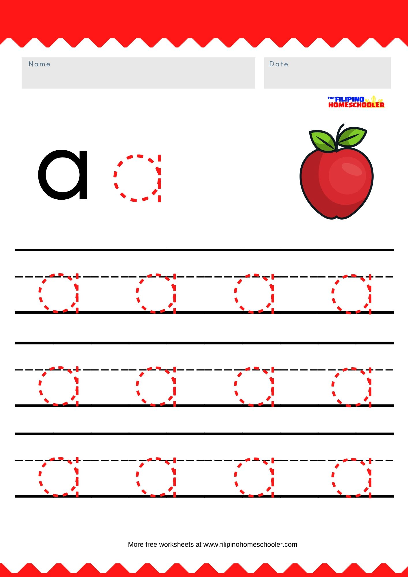 Free Lowercase Vowel Tracing Worksheets