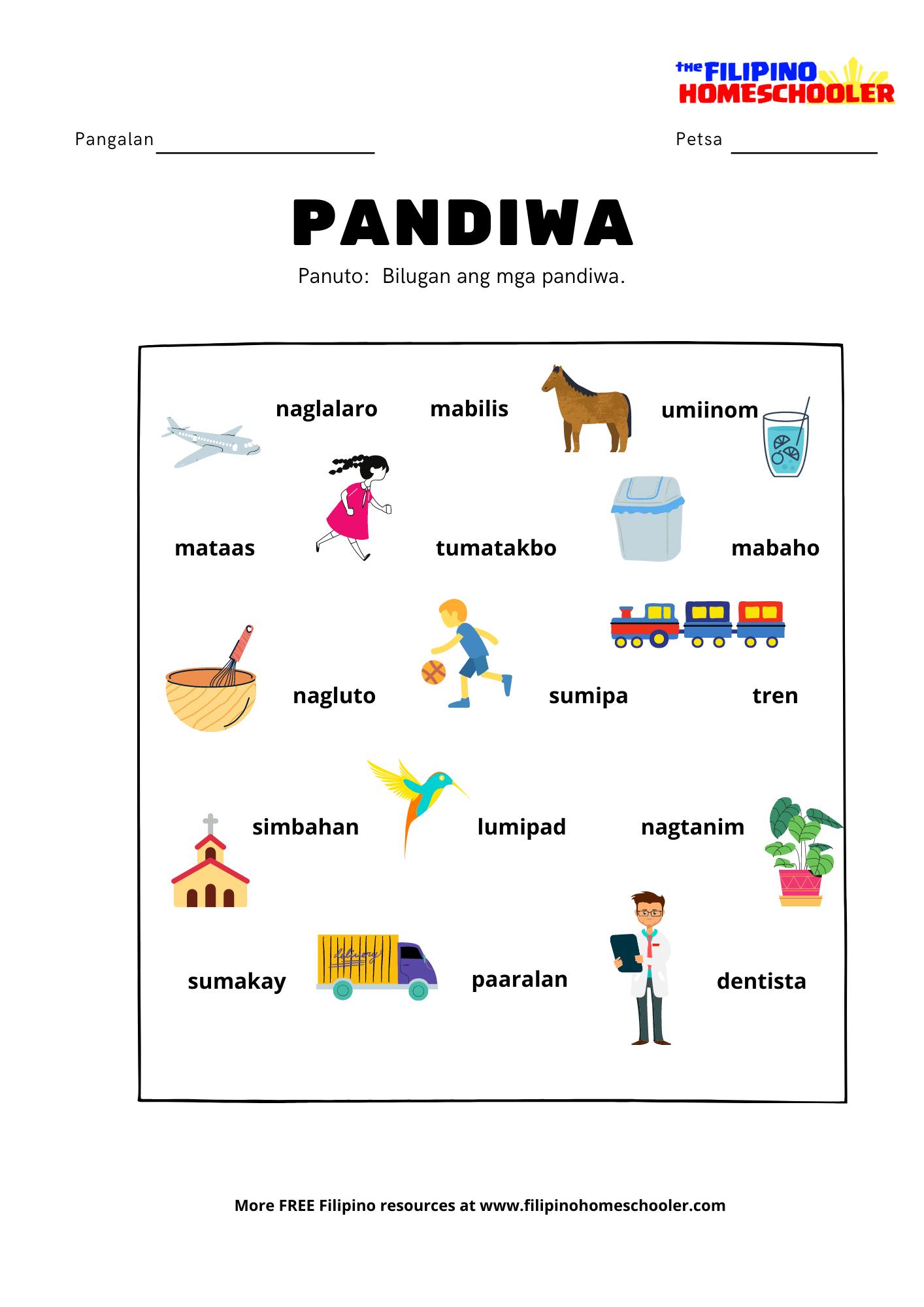 hight resolution of Pandiwa at Mga Halimbawa — The Filipino Homeschooler