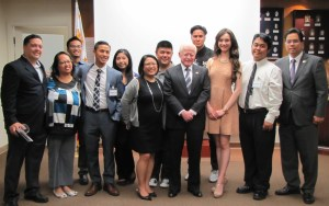 Ambassador Jose Cuisia (center) and Deputy Consul Jaime Ramon Ascalon (extreme right) with officers of the Young Filipino American Professionals and Alexandra Dreschler, one of two scholarship recipients. Recipient Julianne Sison had to leave earlier for a performance.