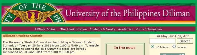 Because of the Diliman Students' Summit, afternoon classes in UP Diliman are suspended (screenshot from http://upd.edu.ph
