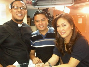 Rev. Ceejay Agbayani of the Metropolitan Community Church, his partner Marlon, and news anchor Karen Davila