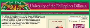 Screengrab from www.upd.edu.ph, taken this morning