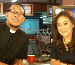 Rev. Ceejay Agbayani of the Metropolitan Community Church - Philippines and TV news anchor Karen Davila