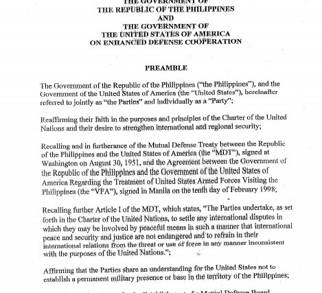 US-PHL Enhanced Defense Cooperation Agreement – full text