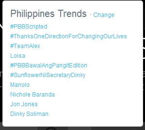 #PBBScripted and #PBBBawalAngPangitEdition became trending topics on Twitter as of Sunday night