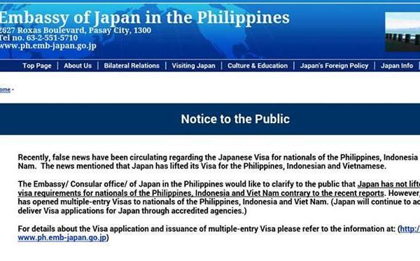 Embassy of Japan denies lifting visa requirement for Filipinos
