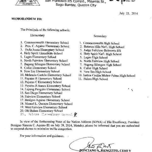 Class suspensions in Quezon City – July 28 2014