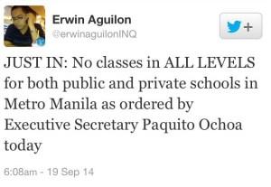 walang pasok - september 19 2014