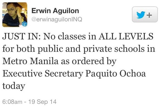 Class suspensions for September 19 2014