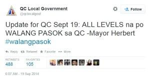 walang pasok -  quezon city september 19 2014
