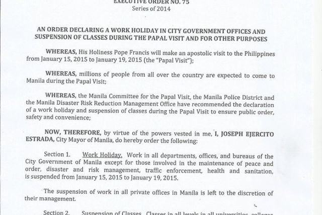 January 15 to 19 2015 declared a holiday in Manila