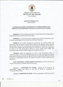 january 9 2015 suspension of classes in manila