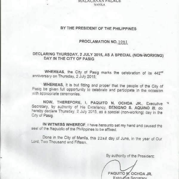 July 2 2015 declared holiday in Pasig City