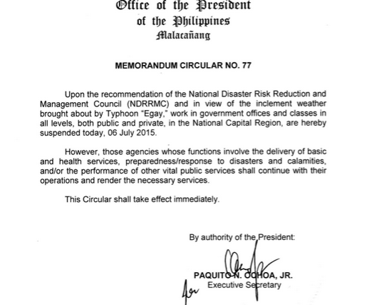 #WalangPasok – Class suspensions for July 6 2015 due to tropical storm 'Egay'