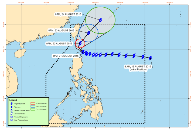Class suspensions for August 22 2015 due to Typhoon 'Ineng'