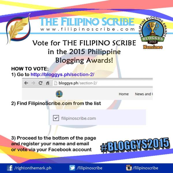 Vote for THE FILIPINO SCRIBE at the 2015 Philippine Blogging Awards!