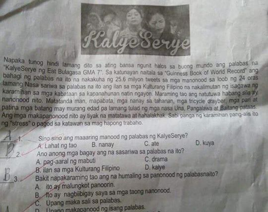 High school teacher in Quezon City uses AlDub for periodical exam in Filipino