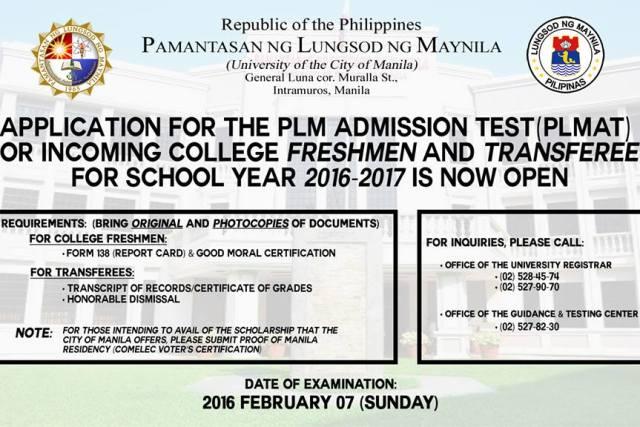 Pamantasan ng Lungsod ng Maynila entrance exam 2016 set for February 7