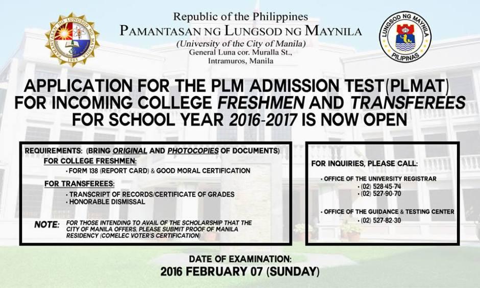 pamantasan ng lungsod ng maynila admission test 2016