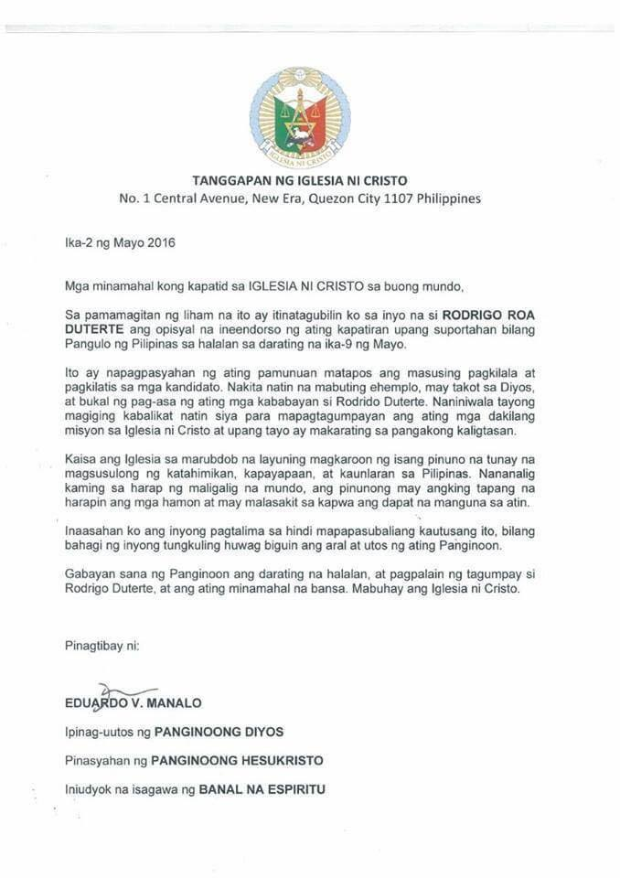 Fake Iglesia Ni Cristo Endorsement Letter For Duterte Goes Viral