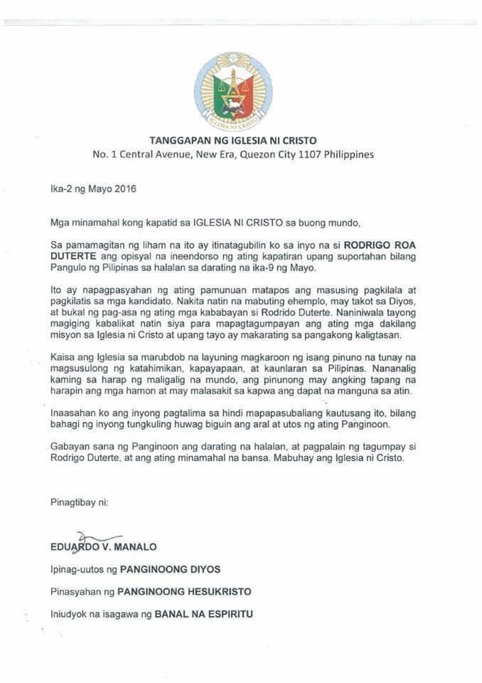 Fake Iglesia Ni Cristo Endorsement Letter For Duterte Goes Viral
