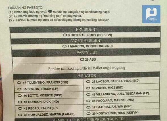 LOOK: Iglesia ni Cristo's list of endorsed senate candidates for 2016