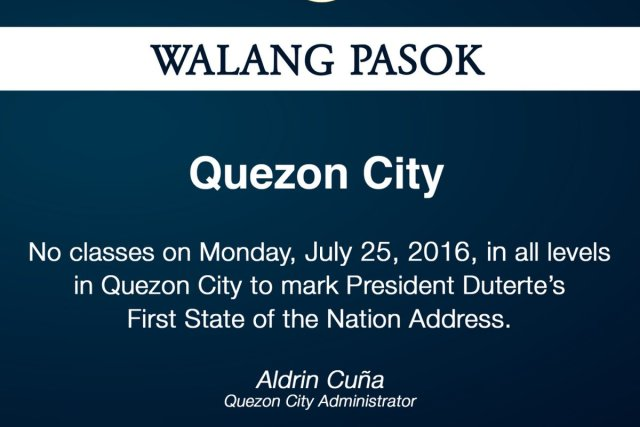 #WalangPasok – Class suspension in Quezon City for July 25 2016