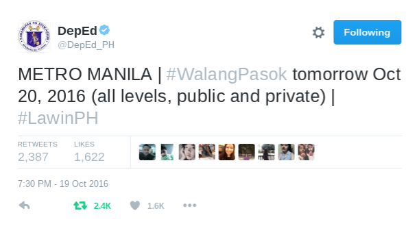 DepEd says sorry for premature #WalangPasok announcement for Metro Manila