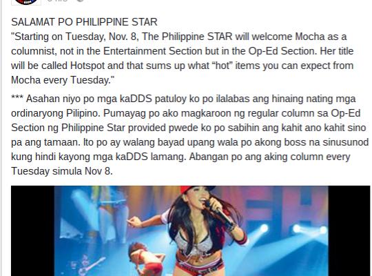 mocha uson philippine star columnist