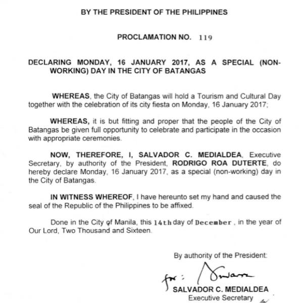 #WalangPasok – January 16 2017 declared a holiday in Batangas City