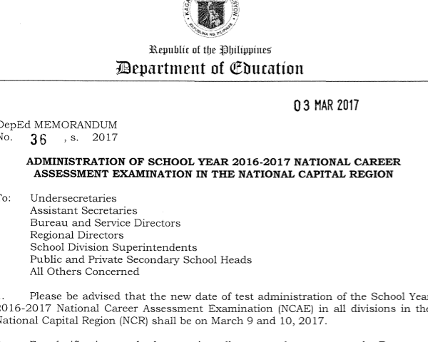 DepEd sets NCAE in Metro Manila for March 9 and 10