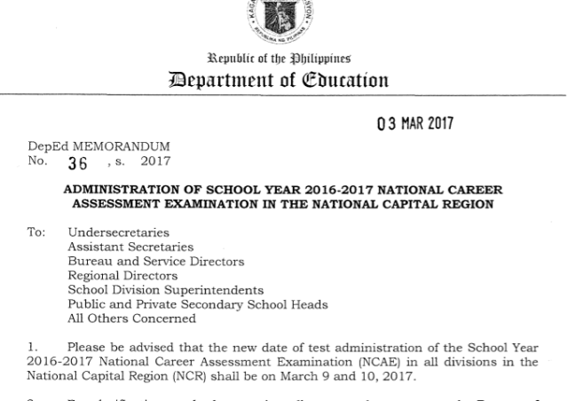 DepEd NCAE March 9 and 10 2017