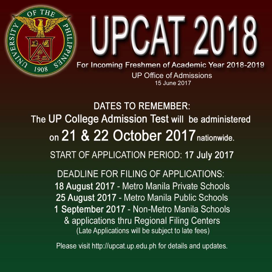 UPCAT 2018 application
