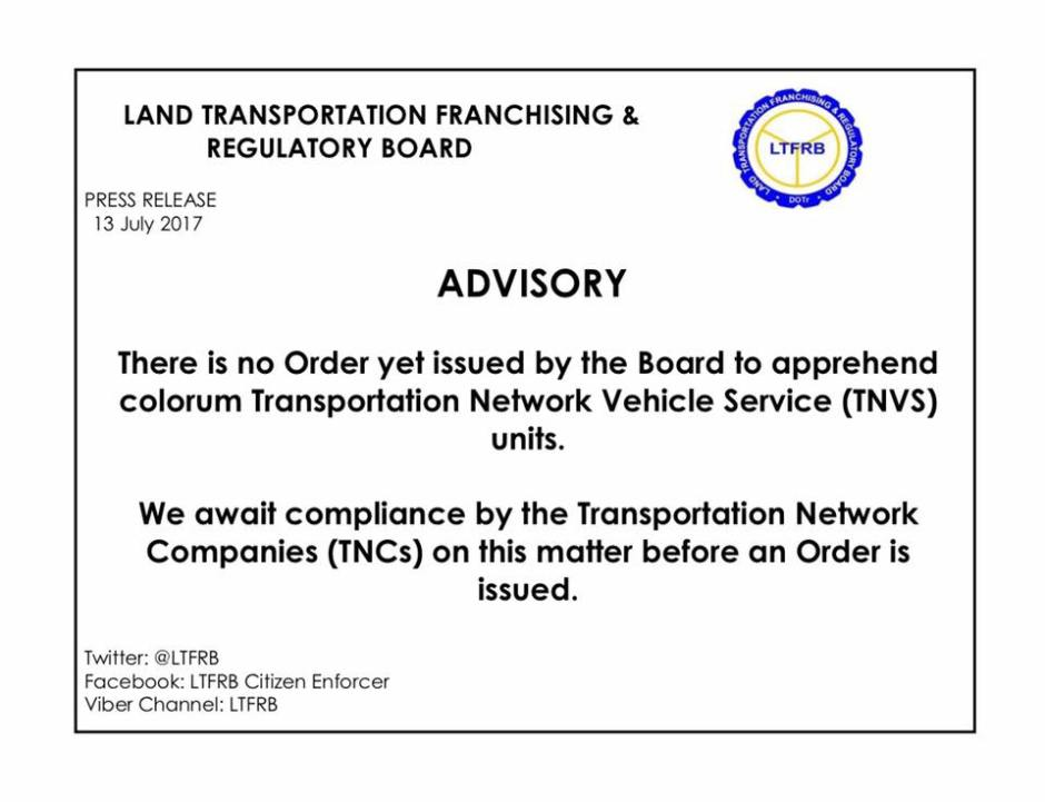 LTFRB rules on Uber and Grab