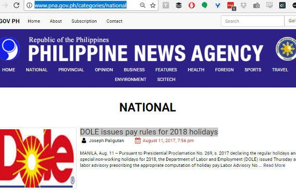 PNA uses logo of Dole Foods for a story about Department of Labor and Employment