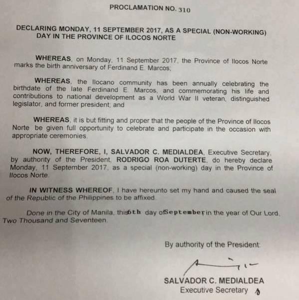 #WalangPasok – September 11 2017 declared holiday in Ilocos Norte