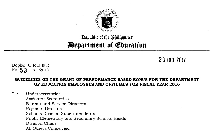 DepEd guidelines for release of performance based bonus 2017