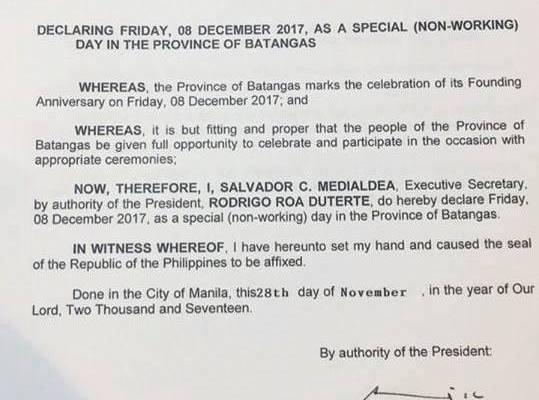 december 8 2017 holiday batangas