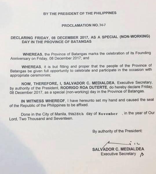 #WalangPasok – December 8 2017 declared holiday in Batangas