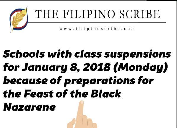 #WalangPasok – Class suspensions for January 8 2018