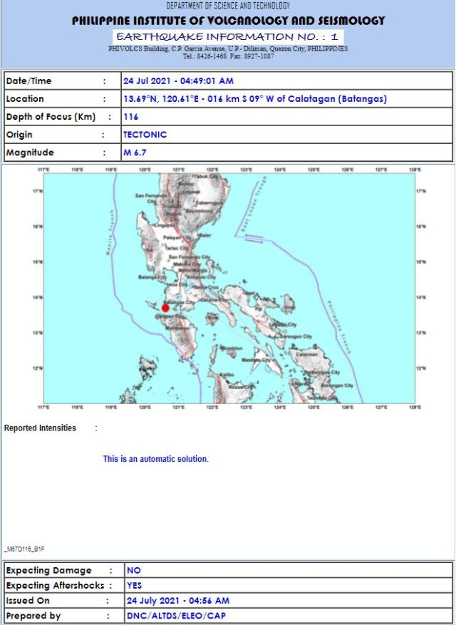 july 24 2021 earthquake philippines
