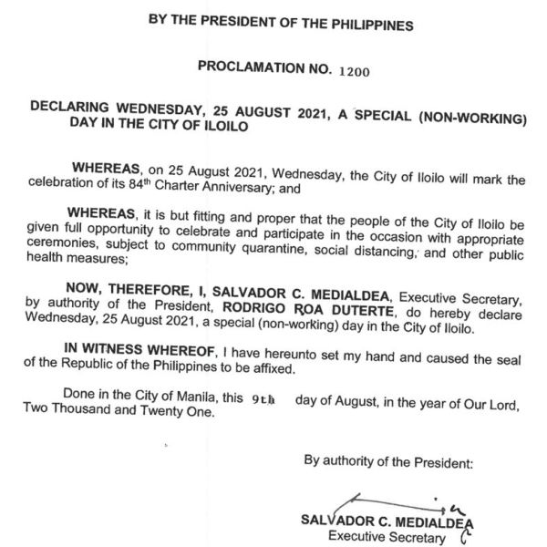 #WalangPasok – August 25 2021 declared holiday in Iloilo City