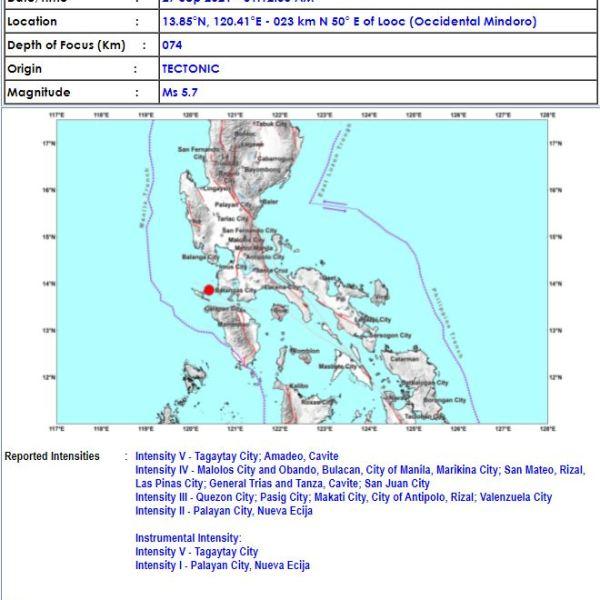 #EarthquakePH – Magnitude 5.7 quake jolts parts of Luzon, Metro Manila
