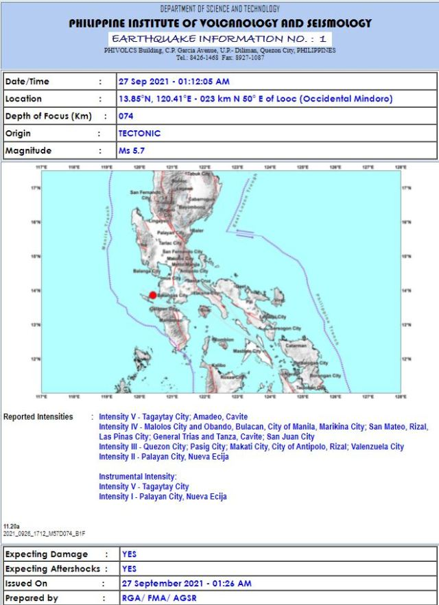 #EarthquakePH september 27 2021