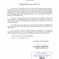 #WalangPasok - Shortened work day in gov't offices on September 27 2021